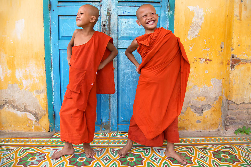 Strike A Pose At The Monastery – Monks Are Having Fun Posing In Battambang, Cambodia