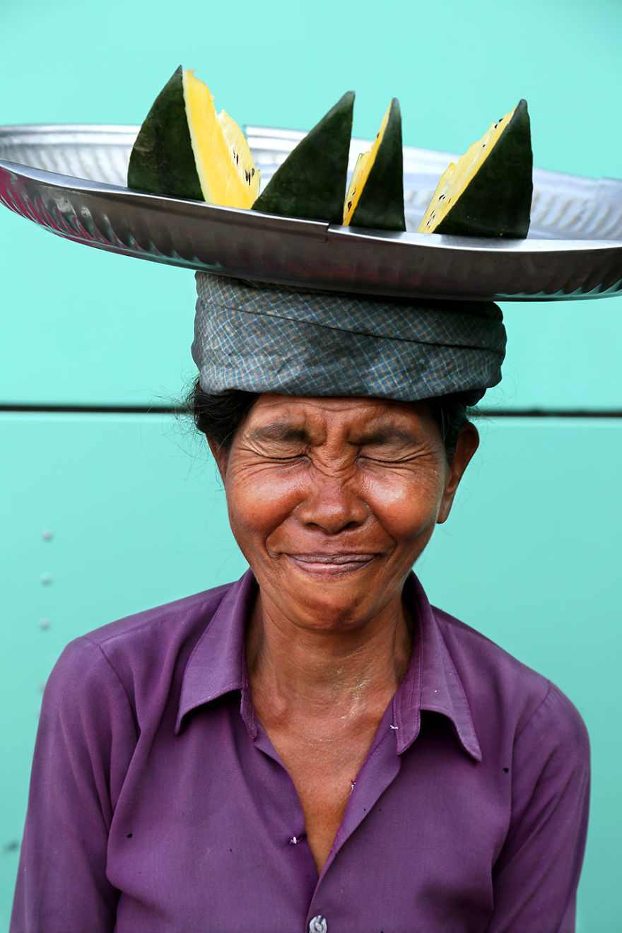 Never Take Things Too Seriously! Portrait Of A Woman In The Yangon Market, Myanmar