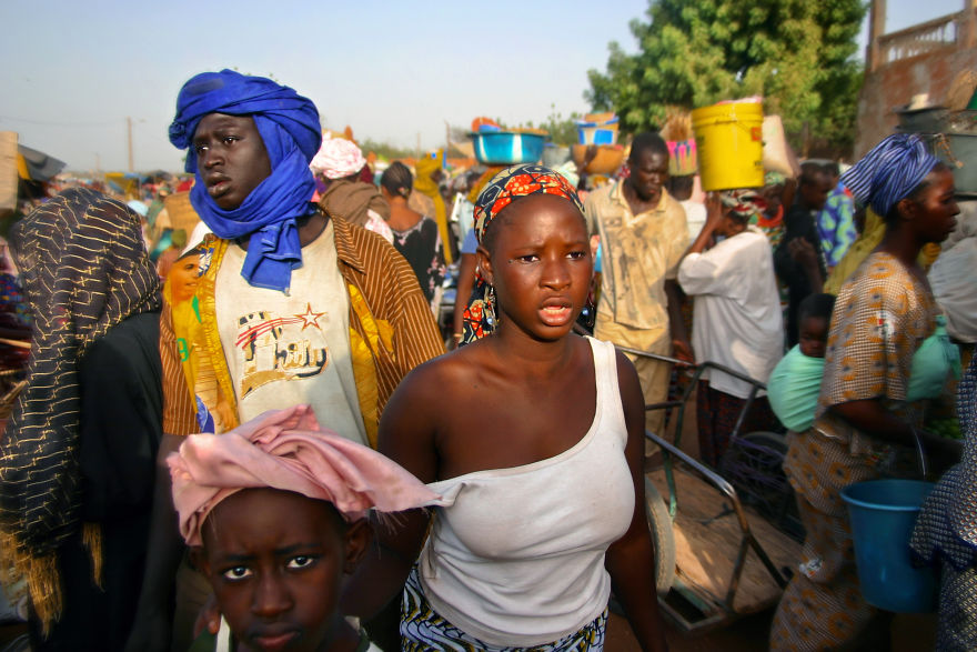 Lost In The Crowd In The Segou Market, Mali