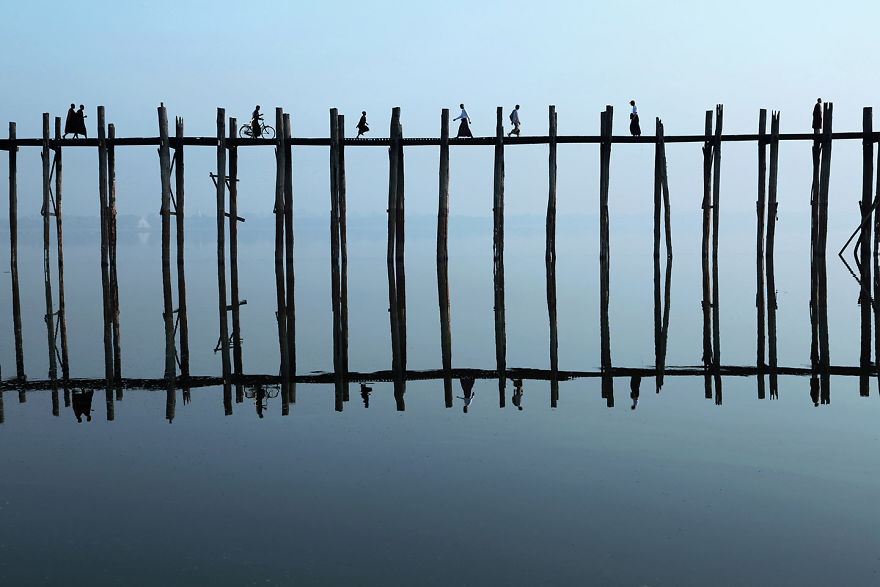 the U-Bein Bridge, Myanmar