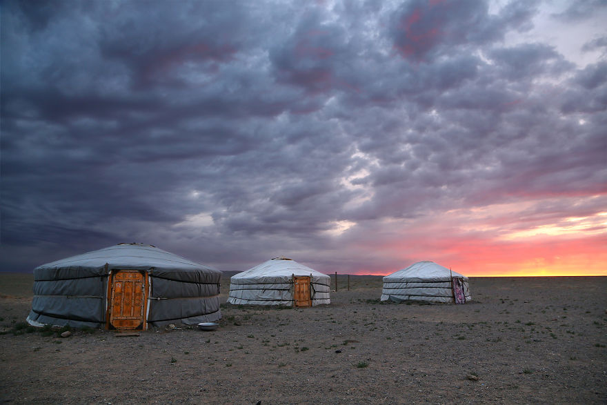 Sunrise In Gobi Desert, Mongolia