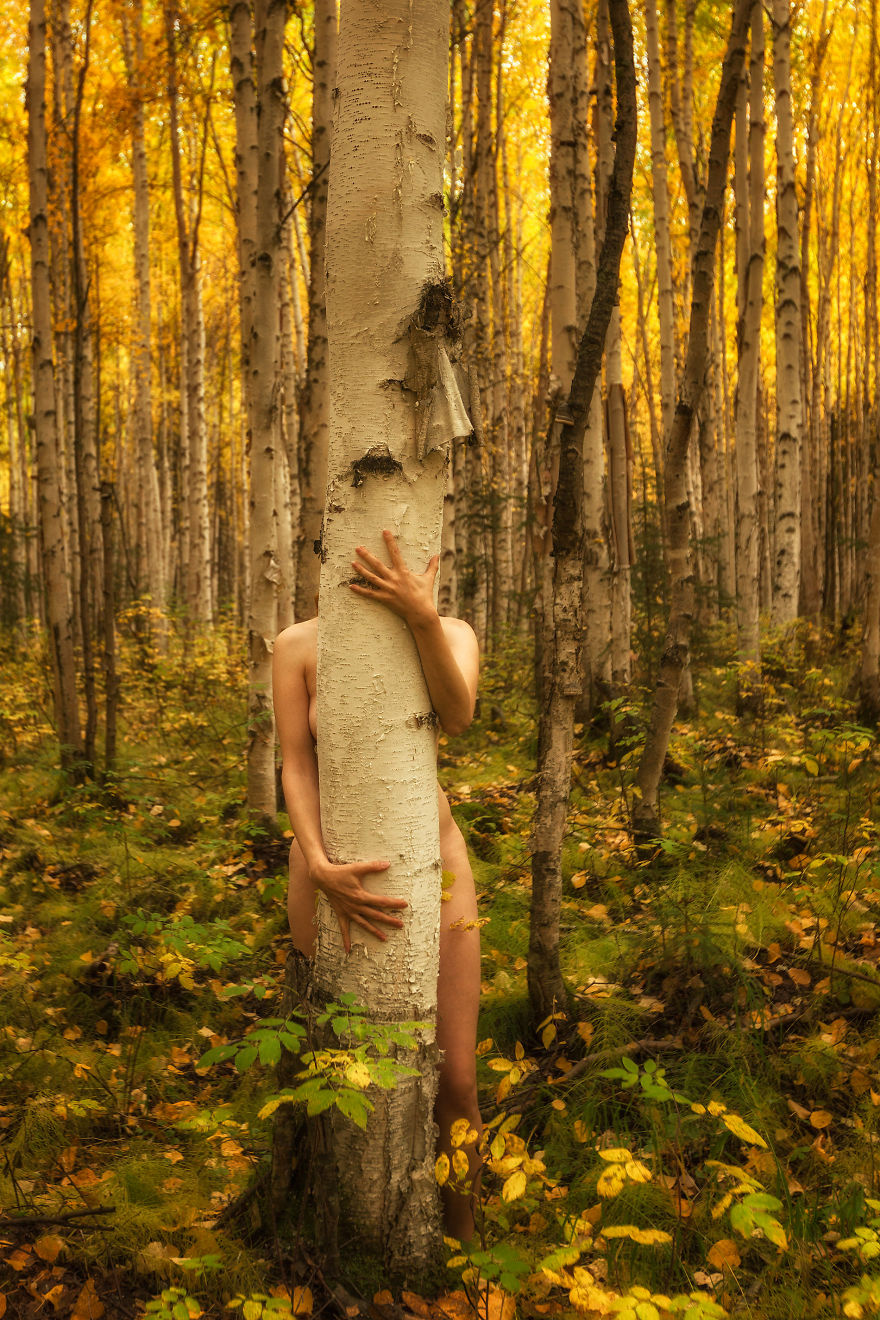 i photograph myself with trees to show that we are nature