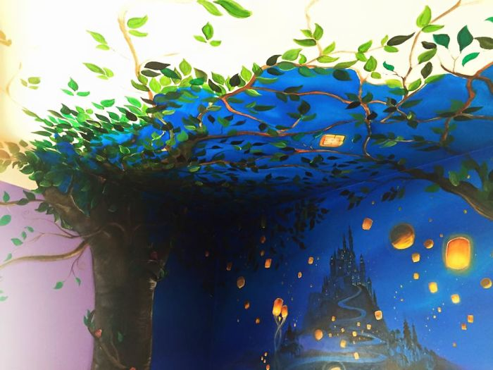 I Painted A Disney Tangled Mural In My Daughter S Room Bored Panda