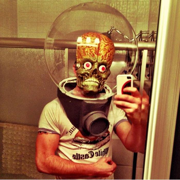 Homemade Halloween Mask Selfie