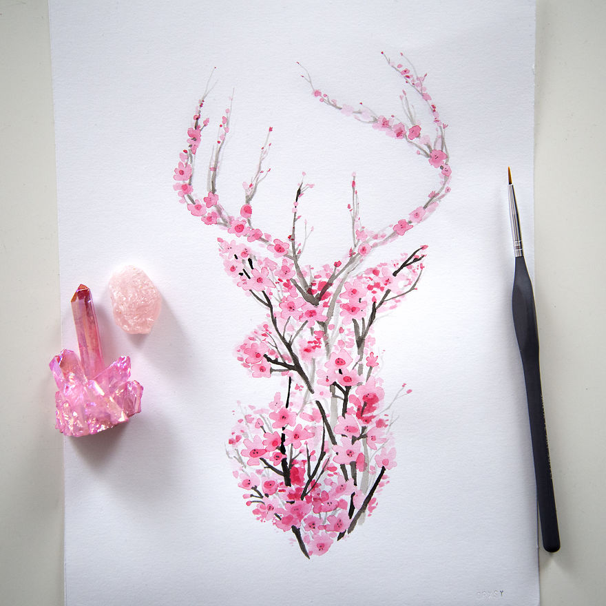 Blossom Tree Drawing: I Watercolor Cherry Blossom Animals