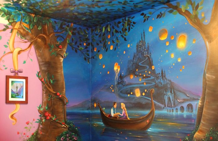 I painted a disney tangled mural in my daughter s room for Disney castle mural