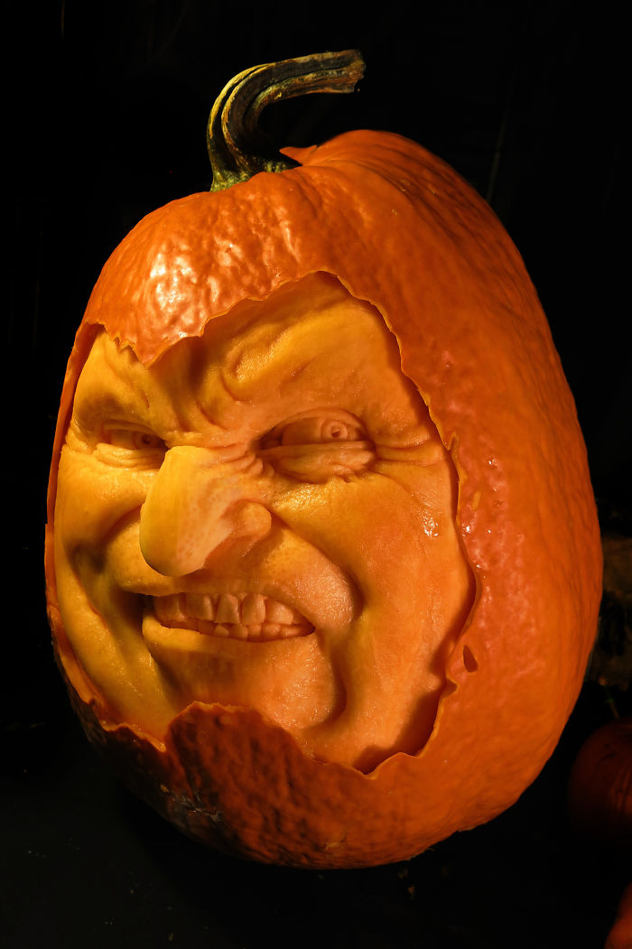 I turn pumpkins into freaks by carving them bored panda