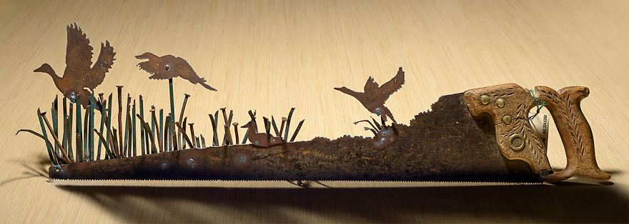 A Quiet Pond Scene Using The Tines From A Green Leaf Rake And Vintage Square Nails For The Cat Tails