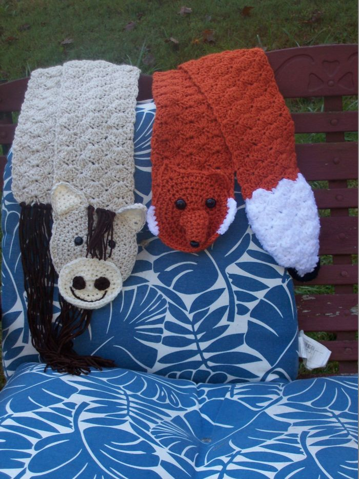 I Designed Cute Little Crocheted Animal Scarves For Halloween And Winter!