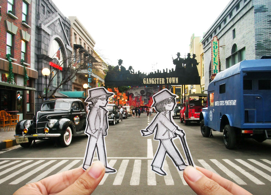 Abang & Neng Could Not Decide Whether Pretending To Be The Beatles Crossing The Abbey Road Or Gangster