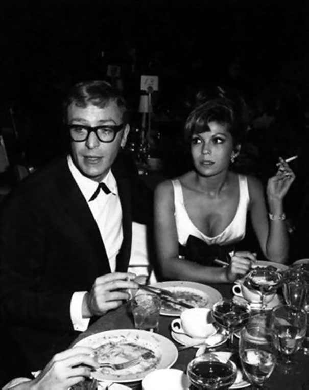 Michael Cane And Nancy Sinatra Having Dinner At The Restaurant