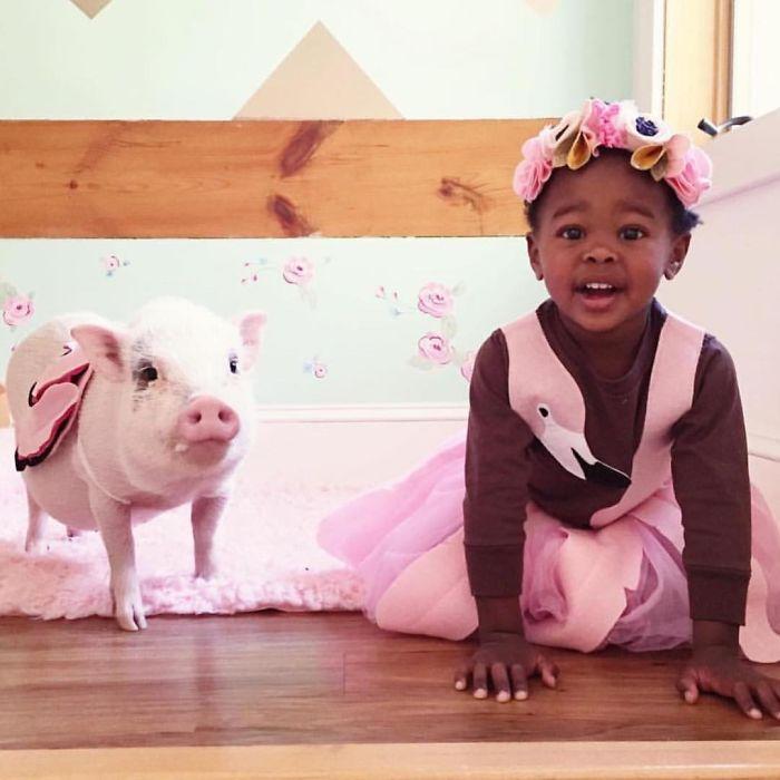 Pelusa dulce de vestir, trajes de Halloween de niños con sus animales domésticos