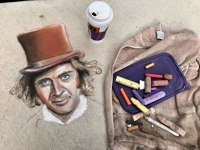 Willy Wonka Chalk Art That I Made With Real Candy