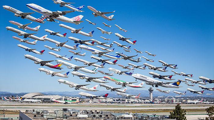 15 Fotos increíbles del tráfico aéreo mundial que costó 2 años realizar