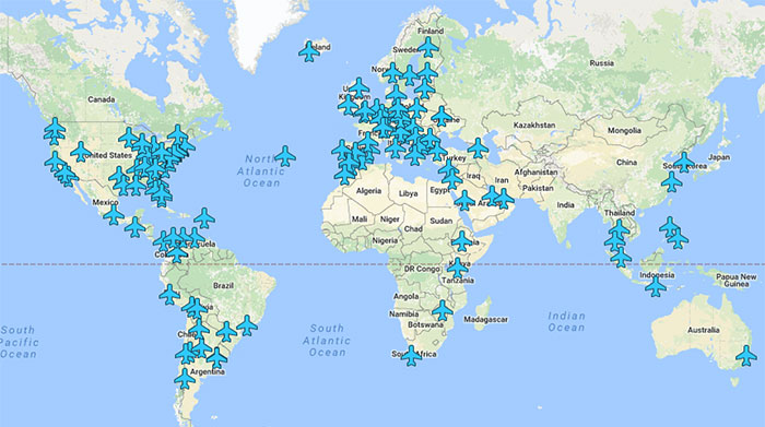 Wi-Fi Passwords Of Airports Around The World In A Single Map
