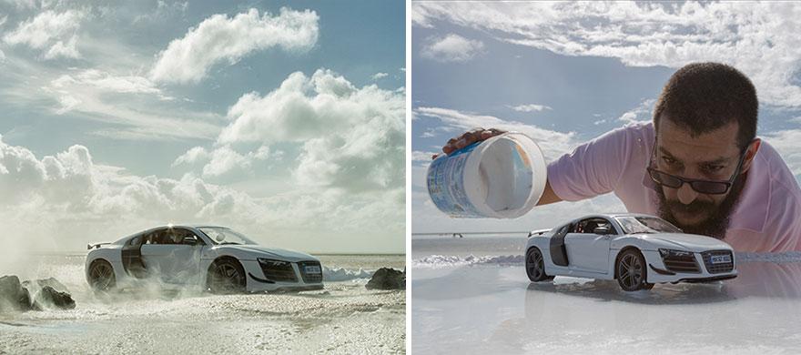 Audi R8-ს რეკლამა სათამაშო მოდელით გაკეთდა