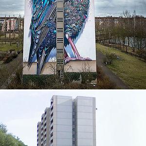 Giant Starling Mural In Berlin