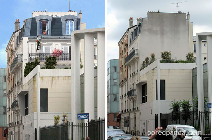 10 incredible before after street art transformations for Bineau mural levallois perret