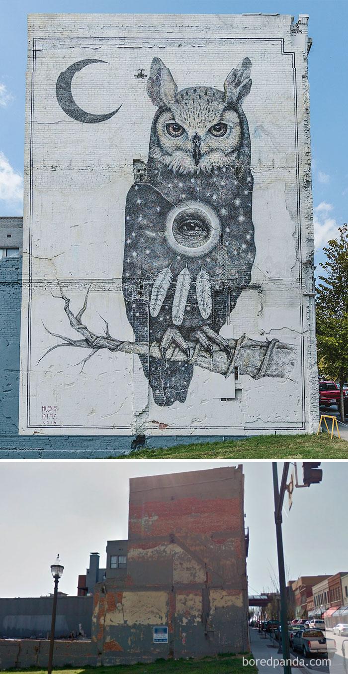 Owl Mural In Fayetteville, Arkansas, USA