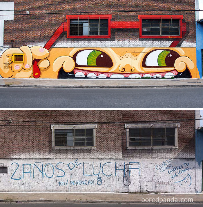 Mitre´s Smile Mural On A Metallurgical Factory Placed In Avenue Mitre, Buenos Aires, Argentina