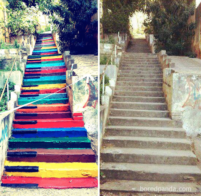 Colorful Piano Stairs In Beirut, Lebanon