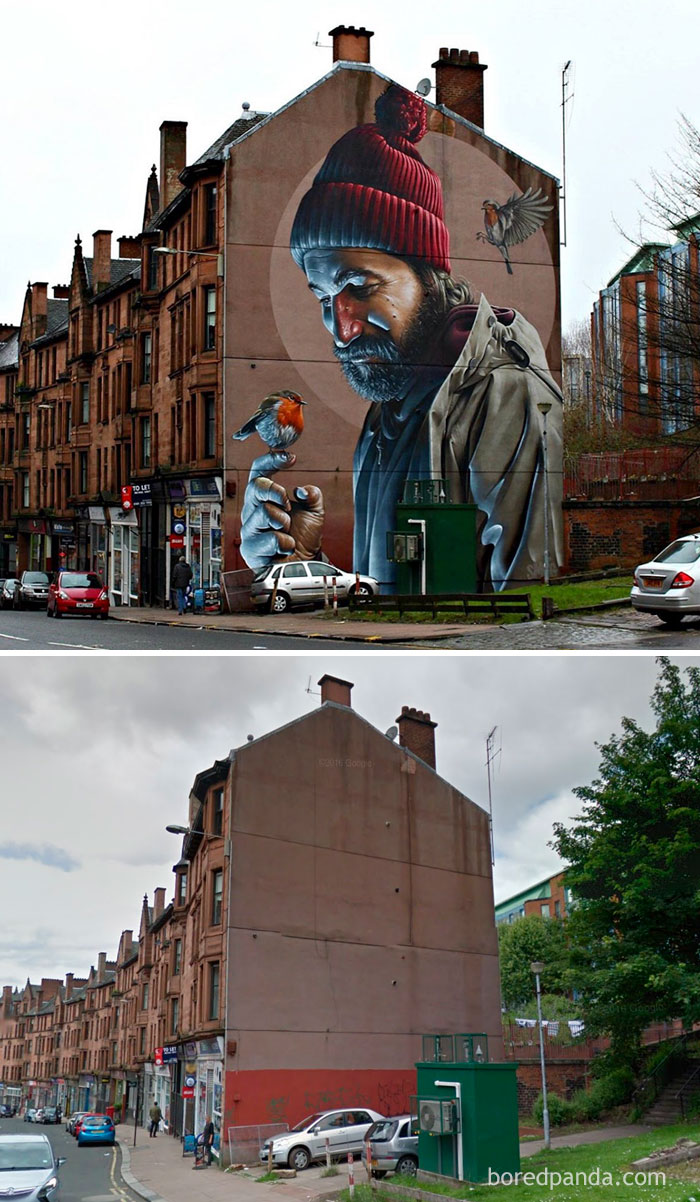 10 incredible before after street art transformations that ll photorealistic mural glasgow scotland