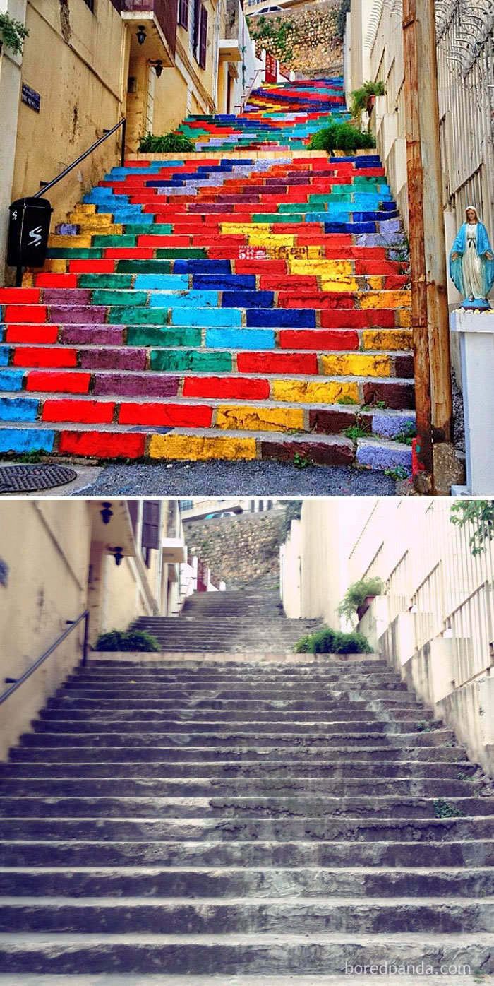 Street Art On The Steps Of Beirut, Lebanon