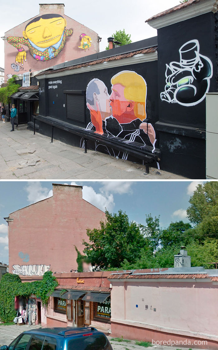 Putin Kissing Trump Mural In Vilnius, Lithuania