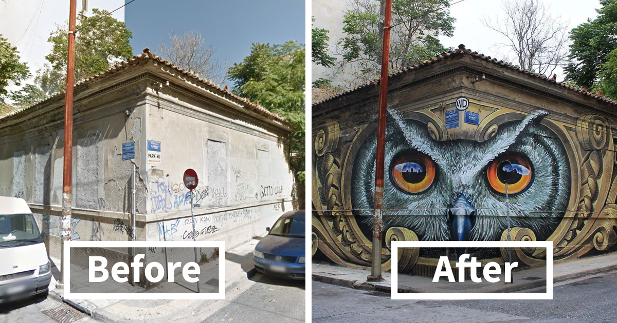 72 Incredible Before & After Street Art Transformations That'll Make You Say Wow