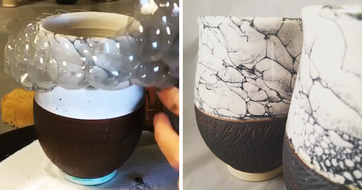 This artist uses bubbles for painting her pottery bored for Paint and pottery