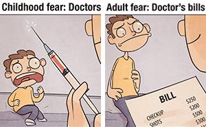 Childhood Fears VS Adult Fears (7 Pics)