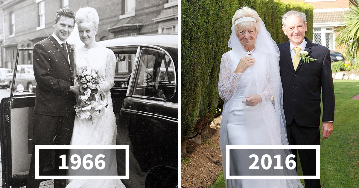 couple celebrates 50 years of love by wearing same wedding clothes