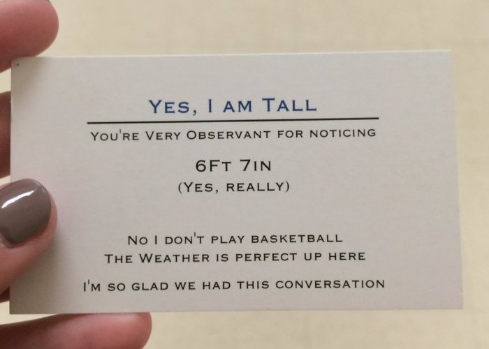 Super Tall 17-Year-Old Is Handing Out Business Cards To People Who Won't Stop Asking About His Height