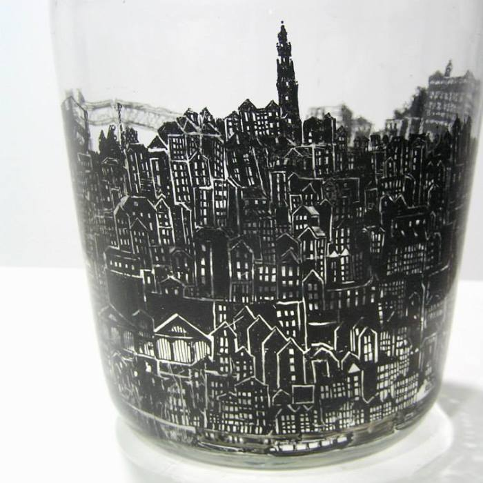 Old Bottles Illustrated With My Favorite Cities