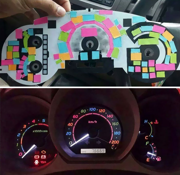 Someone Used Post-It Notes To Color Dashboard Lights