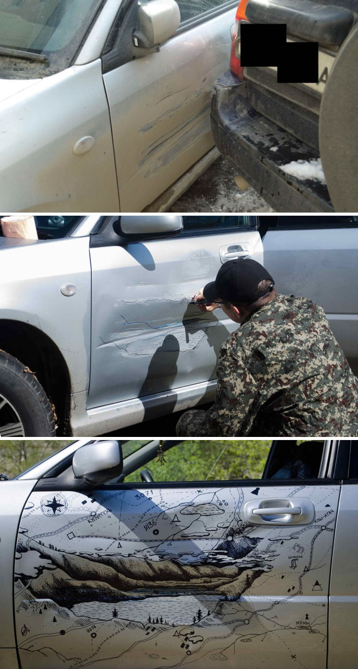 "When A Truck Bumped This Russian Man's Car, He Decided To ""Fix"" It In The Most Creative Way"