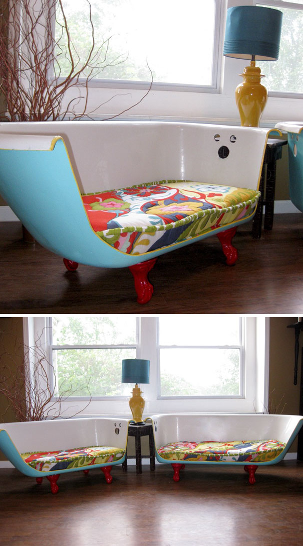 You Can Turn Your Old Bath Tub Into A Lovely Couch | Bored Panda