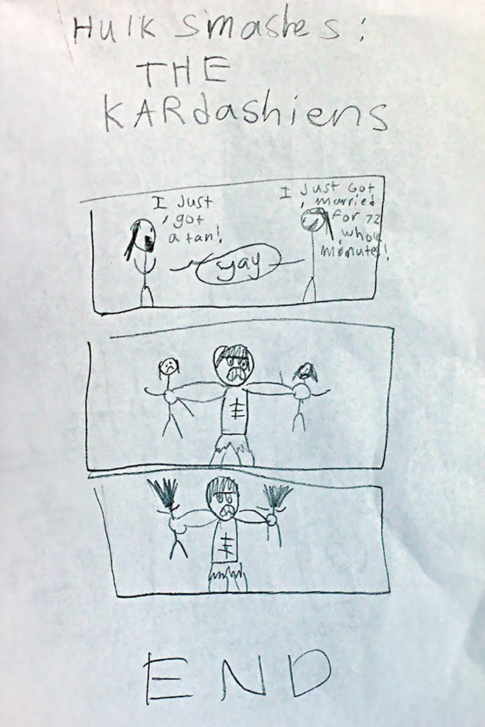 hulk smashes the kardashians by my 10 year old son - Drawing Pictures For Children