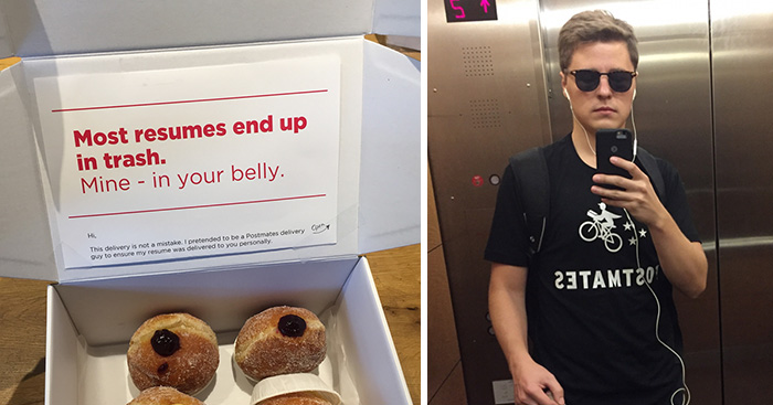 Guy Dresses Himself As Delivery Man To Hand-Deliver His CV Disguised As Box Of Donuts