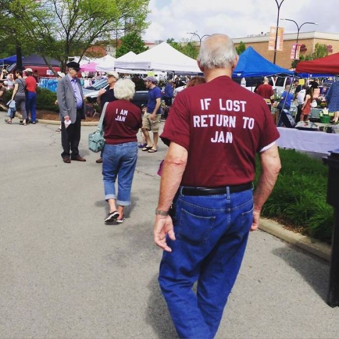 Wearing Matching T-Shirts: If Lost Return To Jan. He Stayed With Her The Whole Time