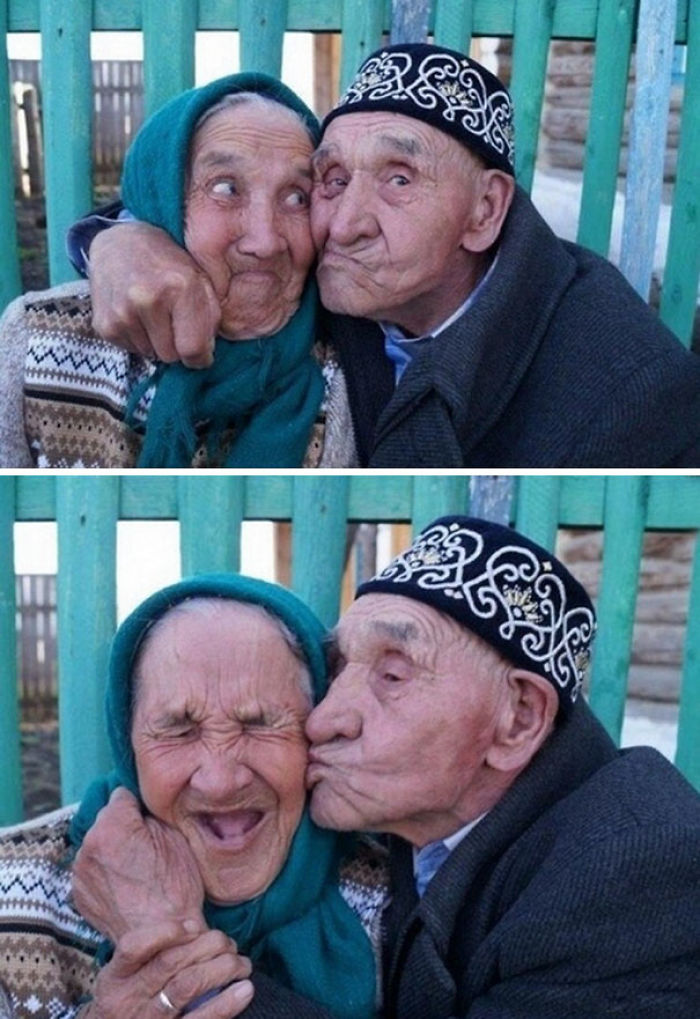 Making Funny Faces: Old Russian Couple From Khalilov Village Have Been Happily Married For 65 Years