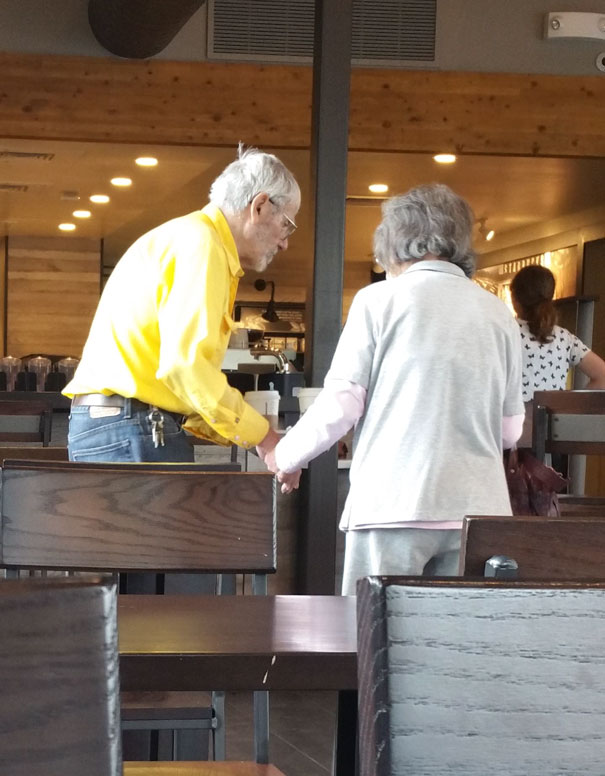 Holding Hands In A Cafe: Elderly Couple Comes Into Starbucks Every Single Day To Enjoy Lunch Together And They Always Walk Out Holding Hands