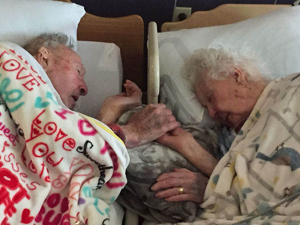 "Staying Together Till The Last Beat Of The Heart: ""My Grandma, 96, With My Grandpa, 100, Hours Before Her Death This Weekend. 77 Years Of Marriage"""