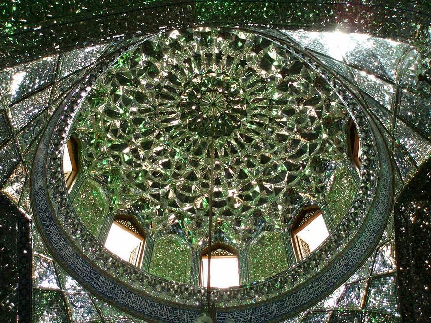 emerald-tomb-ceiling-shah-cheragh-shiraz-iran-5