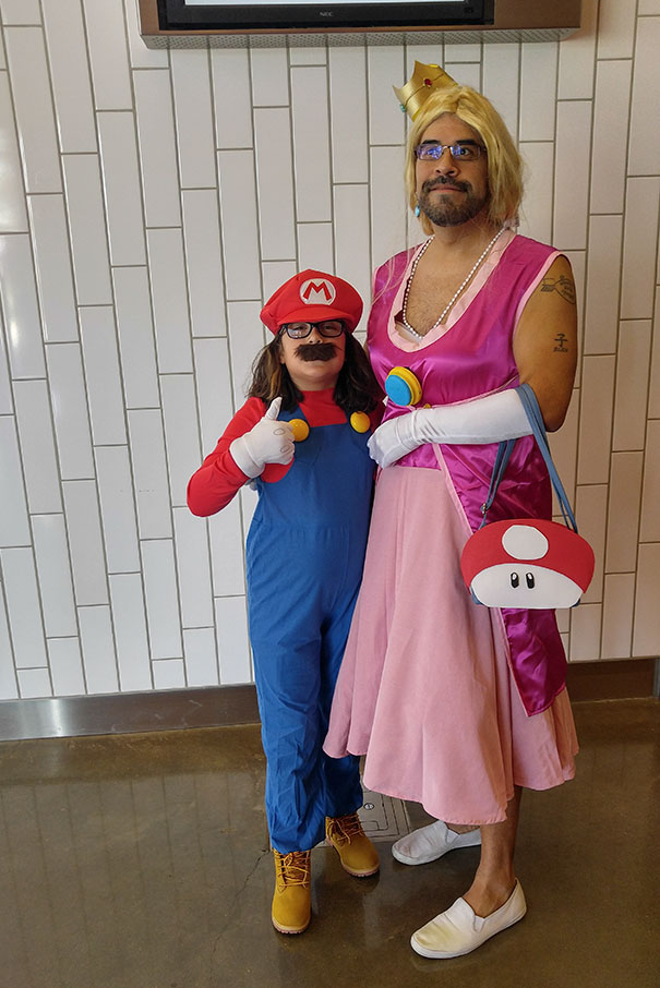 My Daughter Wanted To Go As Mario At Our Local Comic Con, So I Suggested I Go As Luigi. She Had A Better Idea...