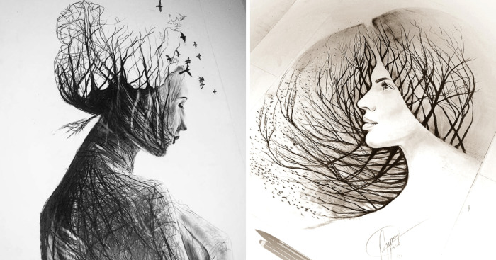 I Personify Mother Nature In My Pencil Drawings | Bored Panda