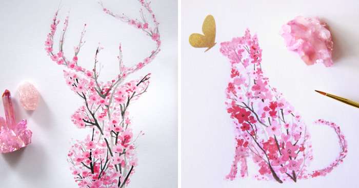 cherry blossom drawing watercolor