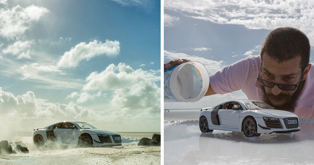 Audi Asks Photographer To Photograph Their 160 000 Sports Car He Uses 40 Miniature Toy Car Instead Bored Panda