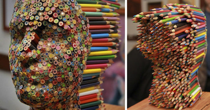 Color Blind Colorful Pencil Sculpture By Molly