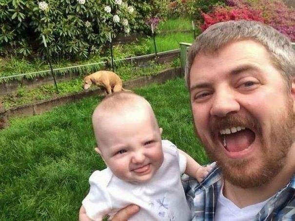 You May See A Better Selfie Of A Man, A Baby And A Dog This Month But I Doubt It